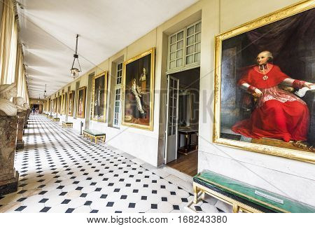 Fontainebleau, France - June 2016: Dazzling interior of the Palace of Fontainebleau