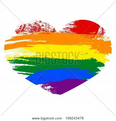 Heart Icon Isolated On White Background. Rainbow Heart With Hand