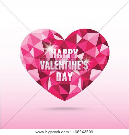 Polygonal pink heart valentine's day with shadow vector low poly origami style