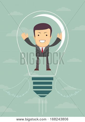 Businessman are flying with lightbulb idea. Stock vector illustration