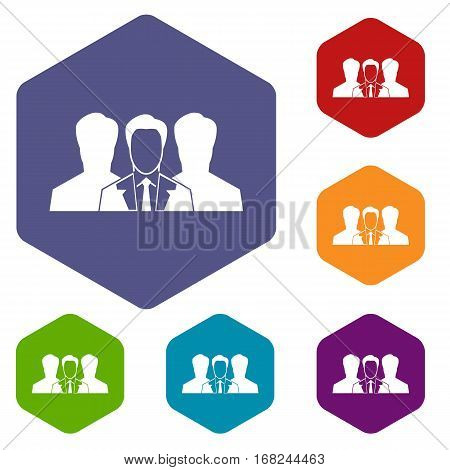 Recruitment icons set rhombus in different colors isolated on white background