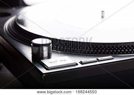 Dj turntable. Close up. Listening the music