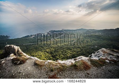 View of Yalta from Ai-Petri plateau, Sea and rocks