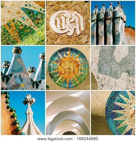 Barcelona travel collage with Antonio Gaudi architectural details, Spain.