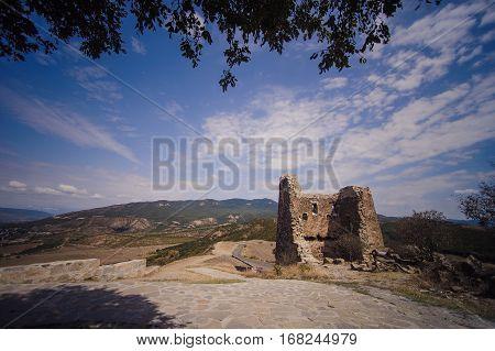 view from Jvari Church in Mtskheta, sky and rocks