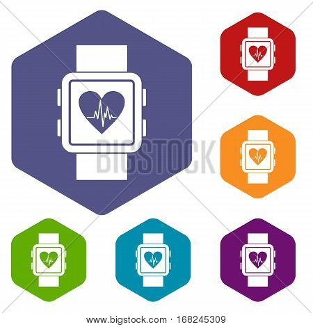 Smartwatch icons set rhombus in different colors isolated on white background