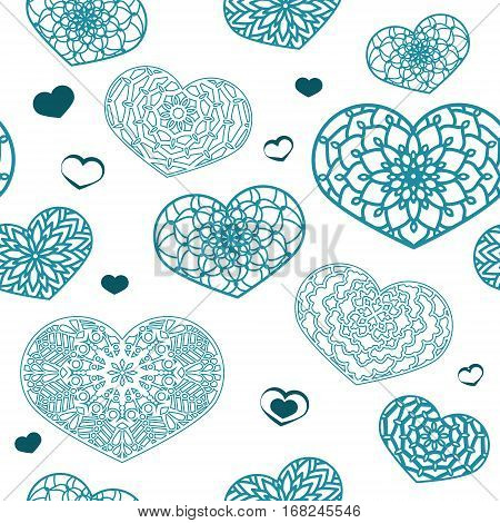 Seamless Colored Pattern With Ornamental Hearts In Pastel Colors