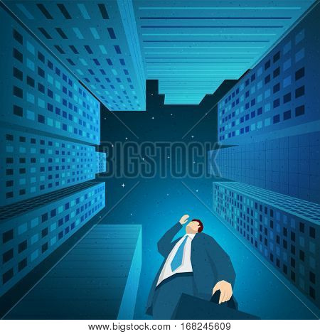 Businessman is looking for something between skyscrapers in downtown. Elements are layered separately in vector file. Easy editable.