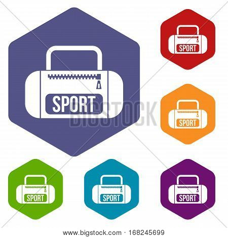 Sports bag icons set rhombus in different colors isolated on white background