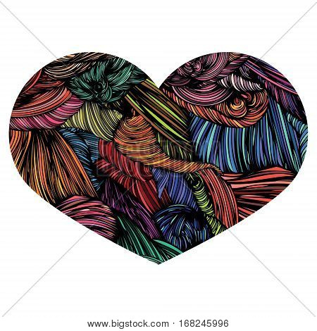 Vivid Ornamental Heart. Ink Drawing Heart With Wave Pattern. Doo