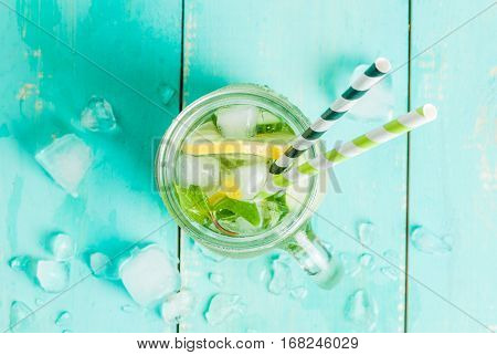 Detox Cocktail Of Mint, Cucumber And Lemon