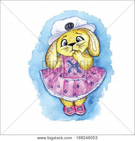Bunny in dress toy is hand-painted with watercolors.
