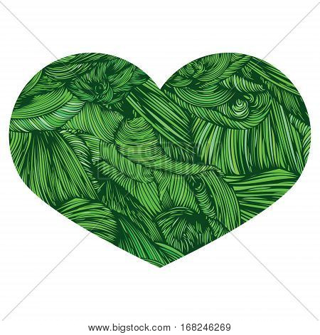Vivid Ornamental Heart in greeni. Ink drawing heart with wave pattern. Doodle Style hand drawn Vintage ornate design element for Valentine's Day or Wedding and ecofood. Stock Vector. Colorful.