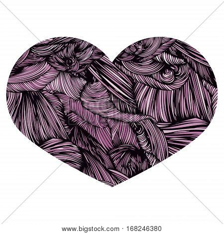 Vivid Ornamental Heart in purple. Ink drawing heart with wave pattern. Doodle Style hand drawn Vintage ornate design element for Valentine's Day or Wedding. Stock Vector. Colorful.