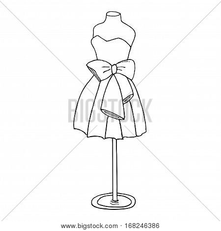 Cocktail dress with a bow. Ball gown short mannequin hand drawing illustration on a white background.