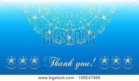 Thank you card. Mandala, ornate semicircular white pattern on blue background.