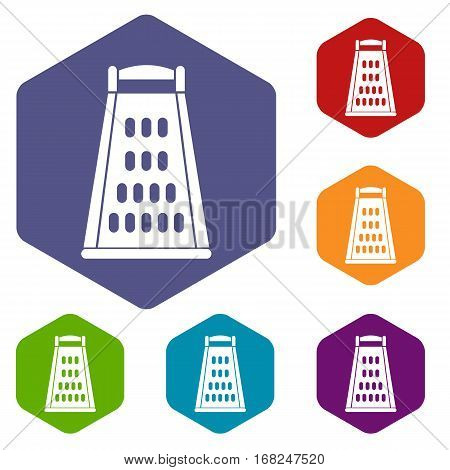 Kitchen grater icons set rhombus in different colors isolated on white background