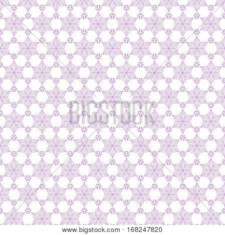 Seamless light lilac floral pattern. Swatch is included in vector file. Transparent background.