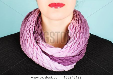 Lilac Wool Scarf Around Her Neck Isolated On White Background.