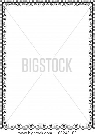 Ornate black rectangular frame, lattice pattern. Decoration for card, certificate, advertisement. Letter page proportions.