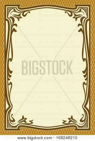 Ornate brown color frame, background. Art Nouveau style. A4 page proportions.