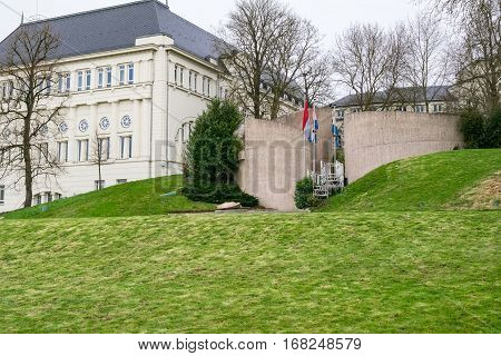 National Monument of the Solidarity on the Cannon Hill in the Luxembourg City. It commemorates the victims of the Second World War and the solidarity of the Luxembourgers.