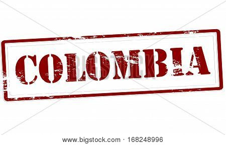 Stamp with word Colombia inside vector illustration