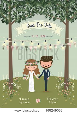 Rustic bohemian cartoon couple wedding invitation card in the forrest Chic and romantic card