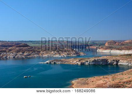 Artificial Powell Lake in Page, Arizona, USA