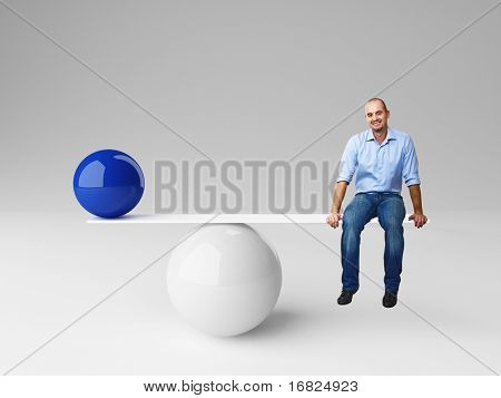 smiling man on 3d balance with blue ball