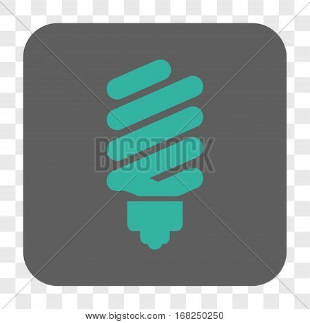 Fluorescent Bulb interface toolbar button. Vector icon style is a flat symbol on a rounded square button cyan and gray colors chess transparent background.