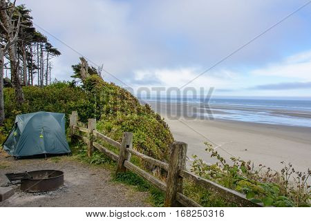 Camping on Kalaloch Campground, Pacific Coast, Washington USA