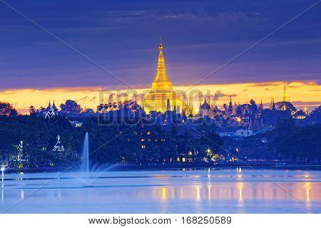 Shwedagon Pagoda at sunset , Myanmar Yangon landmark