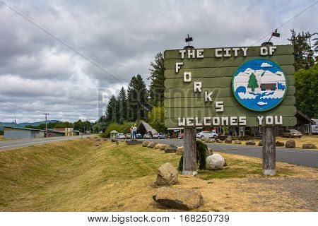 Forks, Washington - June 22, 2015: The welcome sign of Forks, the city known from the Stephenie Meyer's vampire saga