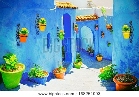 Beautiful blue medina of Chefchaouen city in Morocco North Africa