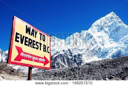 Mountain peak Everest. Highest mountain in the world. National Park Nepal.