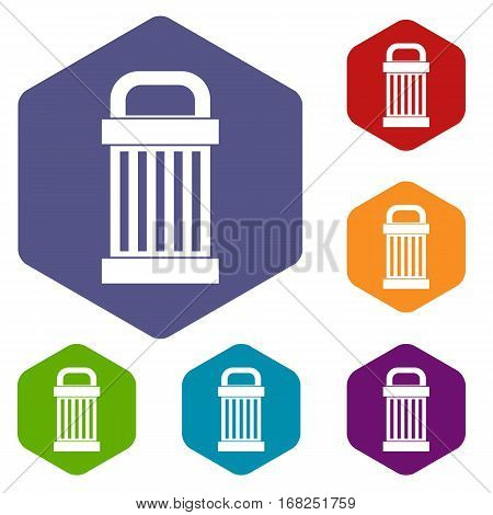 Trash icons set rhombus in different colors isolated on white background