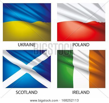 Flags of the world vector. Flags waving in the wind. Set of world flags. Vector illustration. Flag of Ukraine. Flag of Poland. Flag of Scotland. Flag of Ireland.