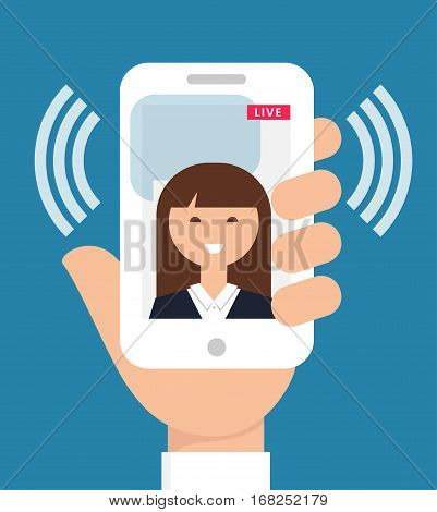Live Video Streaming from Cell Phone. Vector Illustration