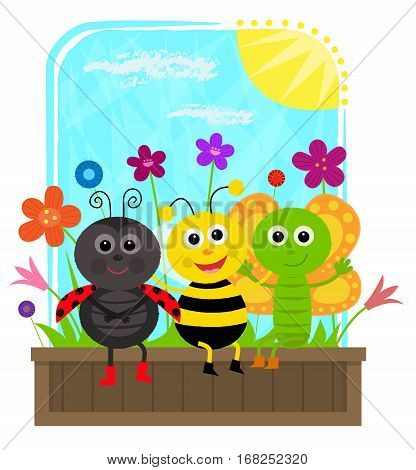 cute butterfly, bee and a ladybug are sitting together on a planter box. Eps10