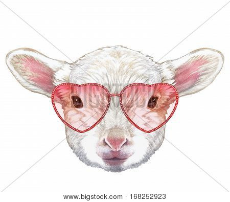 lamb in love! portrait of lamb with heart shaped sunglasses. hand-drawn illustration, digitally colored.