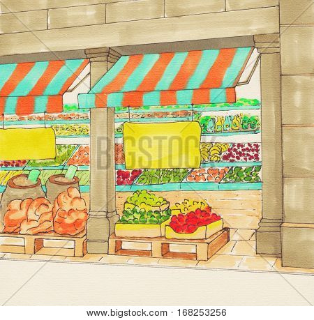 Fruits and Vegetables Shop. Supermarket aisles. Farmers market. Village market. Local Produce. Fresh organic food store. Sketch.