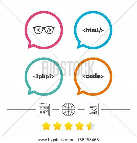Programmer coder glasses icon. HTML markup language and PHP programming language sign symbols. Calendar, internet globe and report linear icons. Star vote ranking. Vector