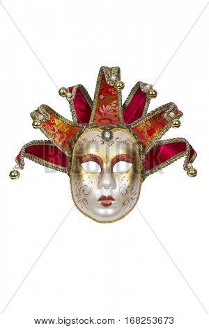 Red-gold Venetian mask isolated on white with clipping path.