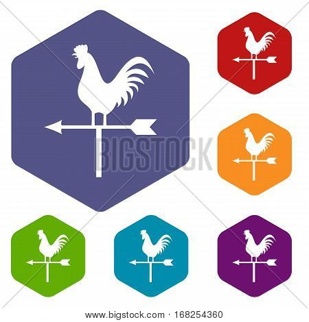 Weather vane with cock icons set rhombus in different colors isolated on white background