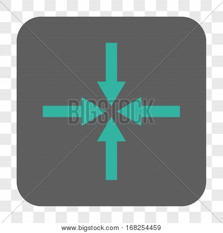 Impact Arrows interface toolbar button. Vector icon style is a flat symbol inside a rounded square button cyan and gray colors chess transparent background.