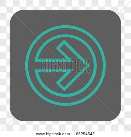 Import interface toolbar button. Vector icon style is a flat symbol in a rounded square button cyan and gray colors chess transparent background.