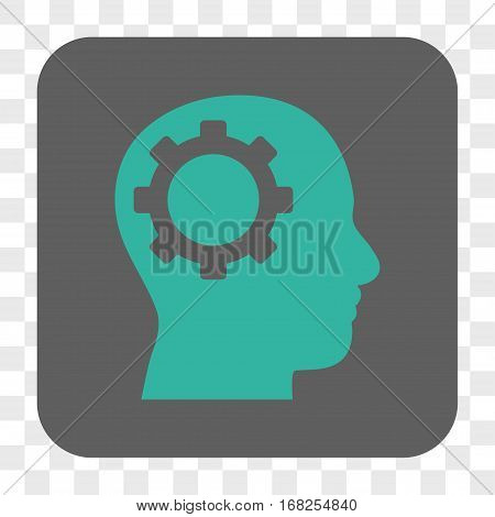 Intellect Gear interface toolbar button. Vector icon style is a flat symbol in a rounded square button cyan and gray colors chess transparent background.