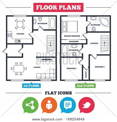 Architecture plan with furniture. House floor plan. Human person and share icons. Speech bubble symbols. Communication signs. Kitchen, lounge and bathroom. Vector