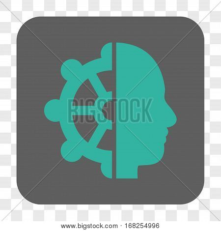 Intellect interface toolbar button. Vector icon style is a flat symbol inside a rounded square button cyan and gray colors chess transparent background.